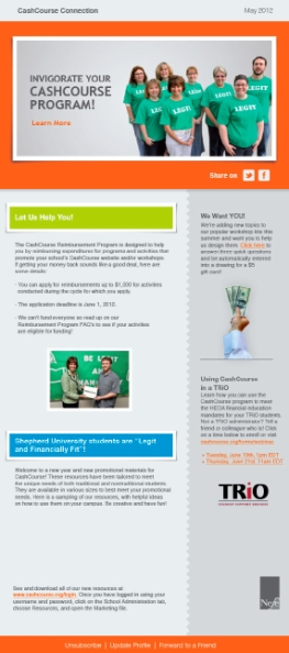E-NEWSLETTER: Usability review, project management, copy-editing, testing, launch